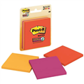 3M 3321SSAN Super Sticky Post It Notes Assorted Neon Colours 73 X 73Mm Pack 3
