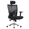 Centro High Mesh Back Clerical Chair With Height Adj Arms  Back With 3 Lever Headrest  Chrome Base Black
