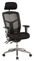 Oyster Oyex1H High Mesh Back Clerical Chair With Height Adj Arms  Head Rest With 3 Lever  Chrome Base Black